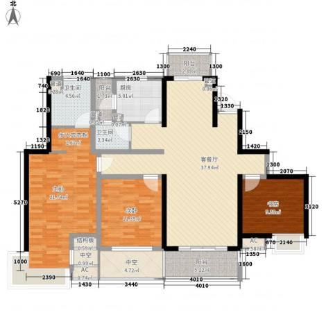 经纬城市绿洲四期泓汇地标3室1厅2卫1厨150.00㎡户型图