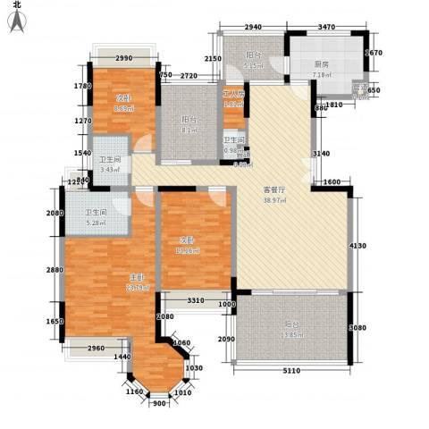 花样年君山别墅3室1厅3卫1厨150.06㎡户型图