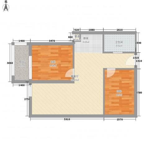 东福金座2室1厅1卫0厨72.00㎡户型图