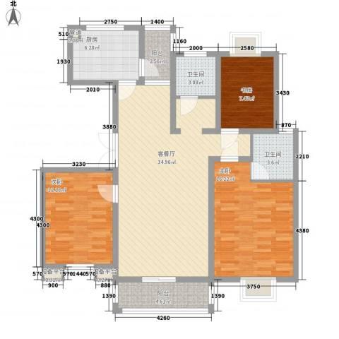 九五花园3室1厅2卫1厨134.00㎡户型图