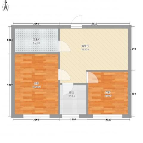 恒宇祥苑2室1厅1卫1厨65.00㎡户型图