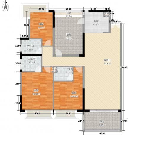 阳光海岸宽寓3室1厅3卫1厨136.94㎡户型图