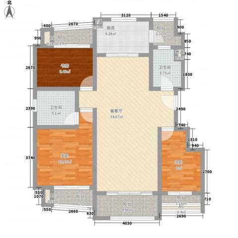 梧桐公馆3室1厅2卫1厨139.00㎡户型图