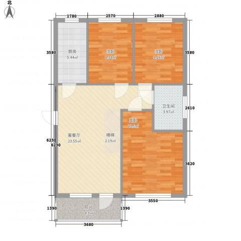恒宇祥苑3室1厅1卫1厨95.00㎡户型图