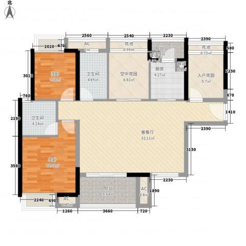 锦地繁花2室1厅2卫1厨130.00㎡户型图