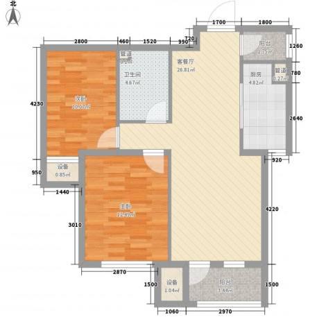 丽景秀苑2室1厅1卫1厨89.00㎡户型图
