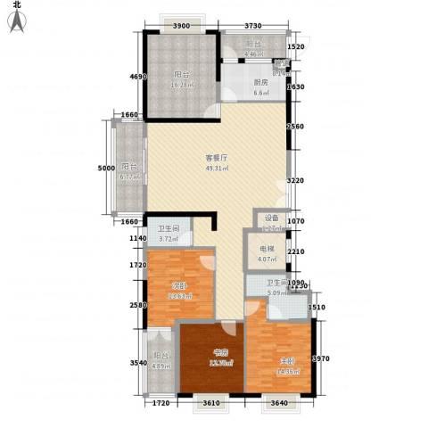 益华御才湾3室1厅2卫1厨167.00㎡户型图
