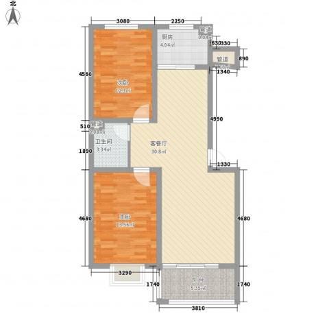 神奇庭院2室1厅1卫1厨92.00㎡户型图