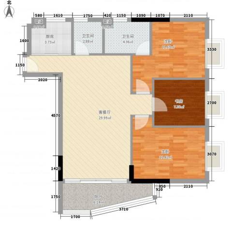 富邦名寓3室1厅2卫1厨112.00㎡户型图