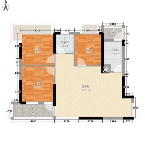 左岸美邻3室1厅1卫1厨98.00㎡户型图