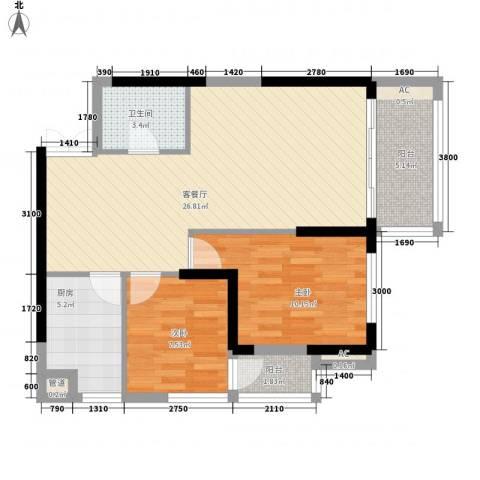 左岸美邻2室1厅1卫1厨85.00㎡户型图