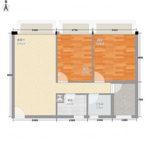 华侨新村2室1厅1卫1厨75.00㎡户型图