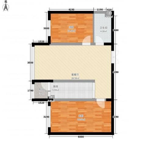 柏悦星城2室1厅1卫1厨67.00㎡户型图