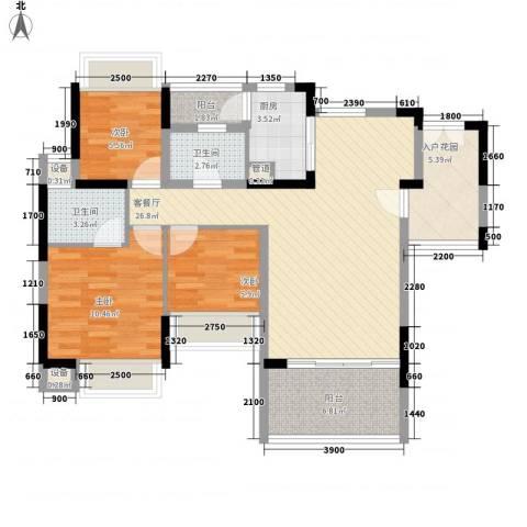 幸福枫景花园3室1厅2卫1厨88.00㎡户型图