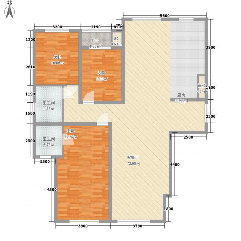 莱安逸珲户型图142.11平米 3室2厅2卫1厨