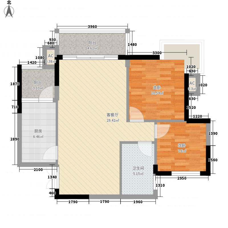 黔灵山国际社区90.23㎡A栋D户型2室2厅2卫1厨
