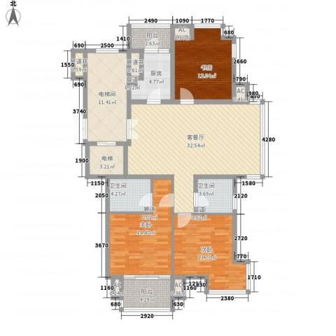 湖东邻里中心3室1厅2卫1厨160.00㎡户型图