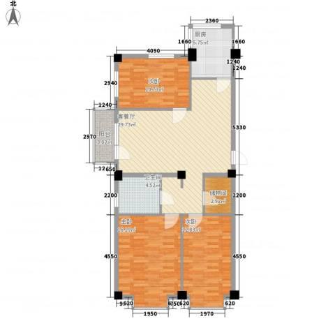 紫金枫尚3室1厅1卫1厨120.00㎡户型图