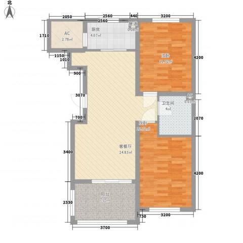 温哥华森林2室1厅1卫1厨67.46㎡户型图