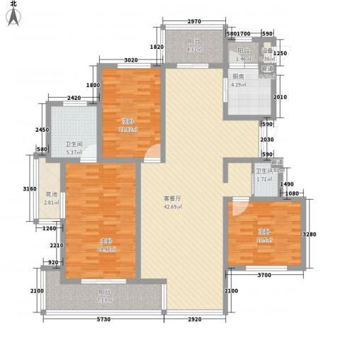 潭泽溪郡3室1厅2卫1厨138.00㎡户型图