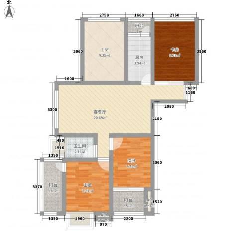 随园锦湖公寓3室1厅1卫1厨105.00㎡户型图