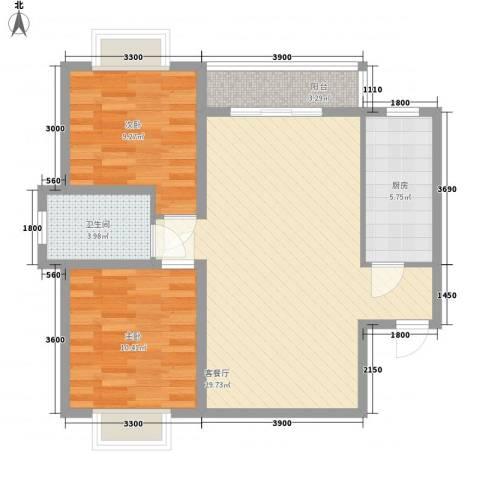翠屏湾2期兰卡威小镇2室1厅1卫1厨77.00㎡户型图