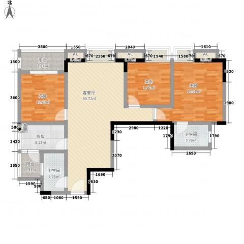 大兴新悦城3室1厅2卫1厨123.00㎡户型图