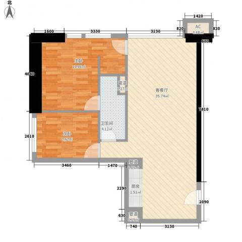 东方希望天祥广场天荟2室1厅1卫0厨94.00㎡户型图