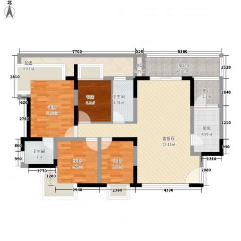 新世纪明上居4室1厅2卫1厨136.00㎡户型图