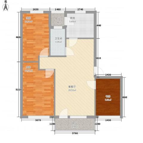 恒宇祥苑3室1厅1卫1厨101.00㎡户型图