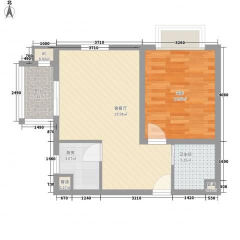 @时代爱特大厦1室1厅1卫1厨60.00㎡户型图