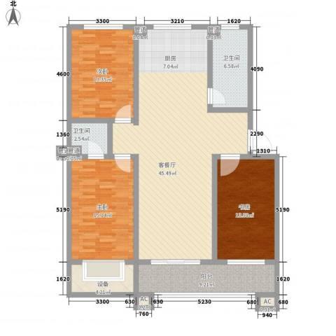 树林新村3室1厅2卫0厨137.00㎡户型图