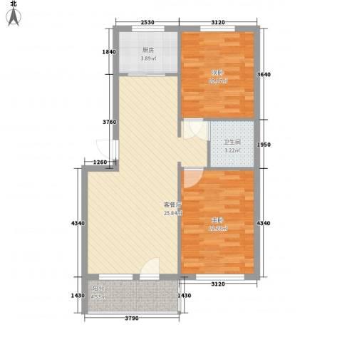 恒宇祥苑2室1厅1卫1厨83.00㎡户型图