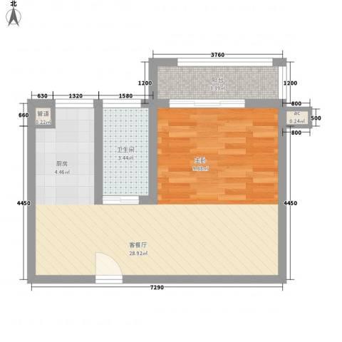 @时代爱特大厦1厅1卫0厨52.00㎡户型图