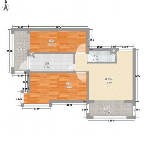观澜宝邸2室1厅1卫1厨56.00㎡户型图