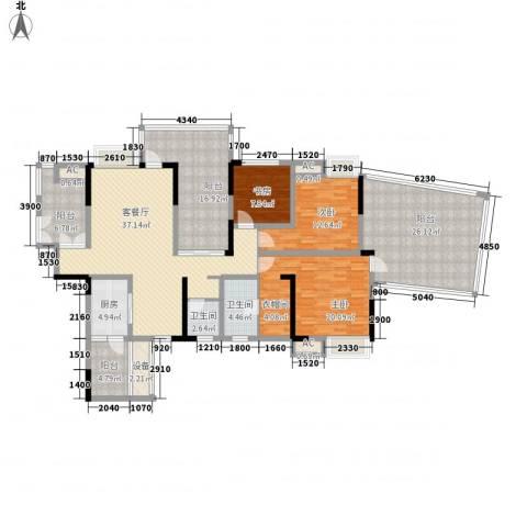 国电金海域3室1厅2卫1厨148.39㎡户型图