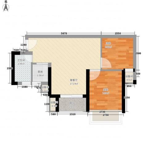 华侨新村2室1厅1卫1厨55.00㎡户型图