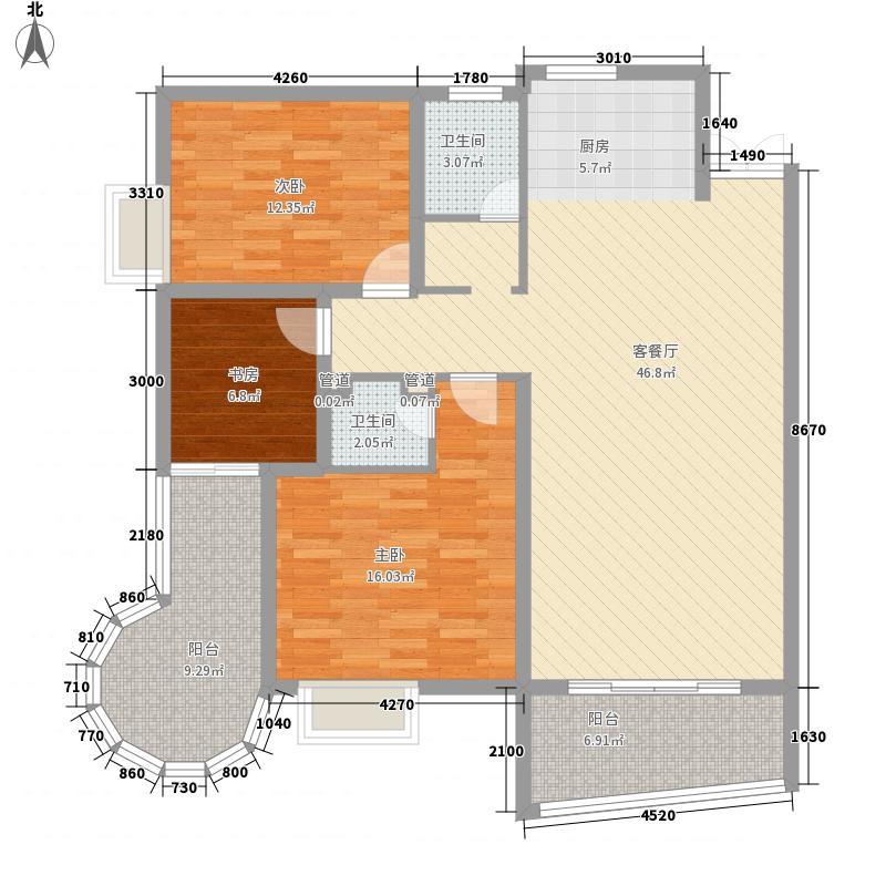 心美TWINS国际商住楼133.50㎡C户型1、4号房户型3室2厅2卫1厨