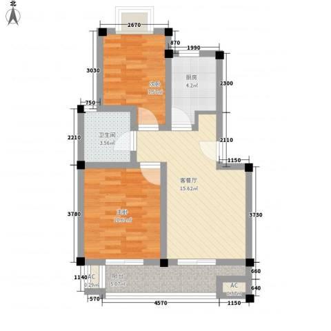 明城玫瑰园2室1厅1卫1厨72.00㎡户型图