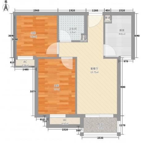 顶秀欣园2室1厅1卫1厨67.00㎡户型图