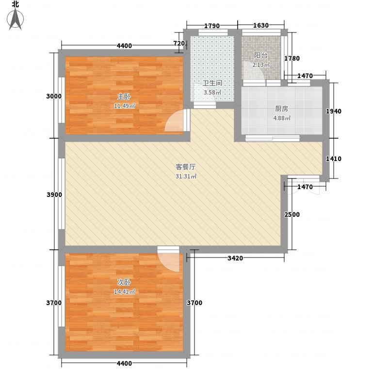 云祥山庄88.00㎡云祥山庄户型图F-2户型2室2厅1卫1厨户型2室2厅1卫1厨