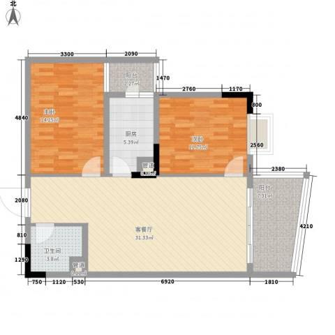 国电金海域2室1厅1卫1厨97.00㎡户型图