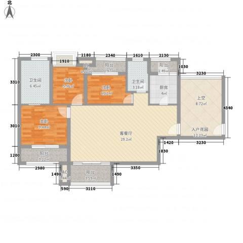 时光俊园3室1厅2卫1厨106.00㎡户型图