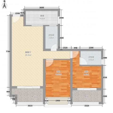 时光俊园2室1厅2卫1厨86.00㎡户型图