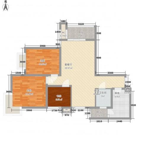 铭城国际社区3室1厅1卫1厨85.34㎡户型图