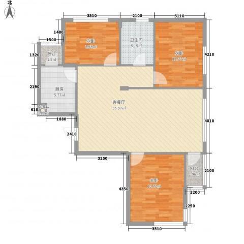 安邦阳光尚城3室1厅1卫1厨117.00㎡户型图