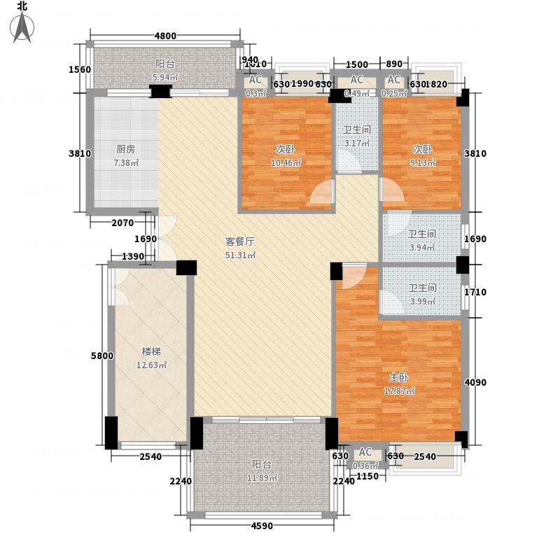 美嘉华庭157.84㎡一期5号楼标准层01户型3室2厅3卫1厨