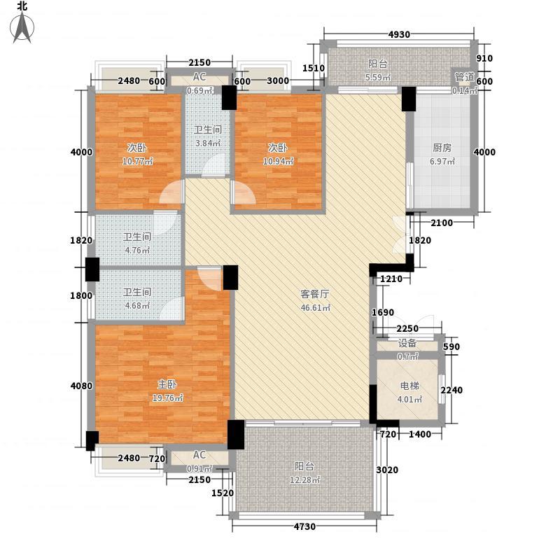 美嘉华庭167.00㎡一期6号楼标准层12户型3室2厅3卫1厨