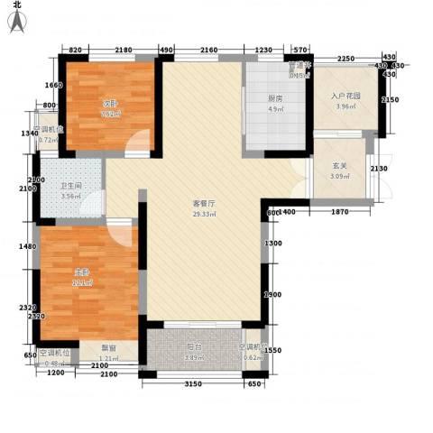 蓝鼎滨湖假日清华园2室1厅1卫1厨103.00㎡户型图