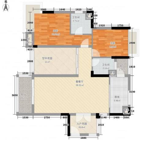 汇景盛世东方2室1厅2卫1厨88.60㎡户型图